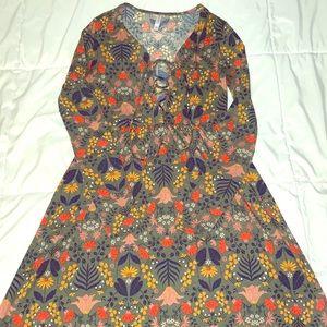 Long sleeve, flowy empire waist, 90's style dress